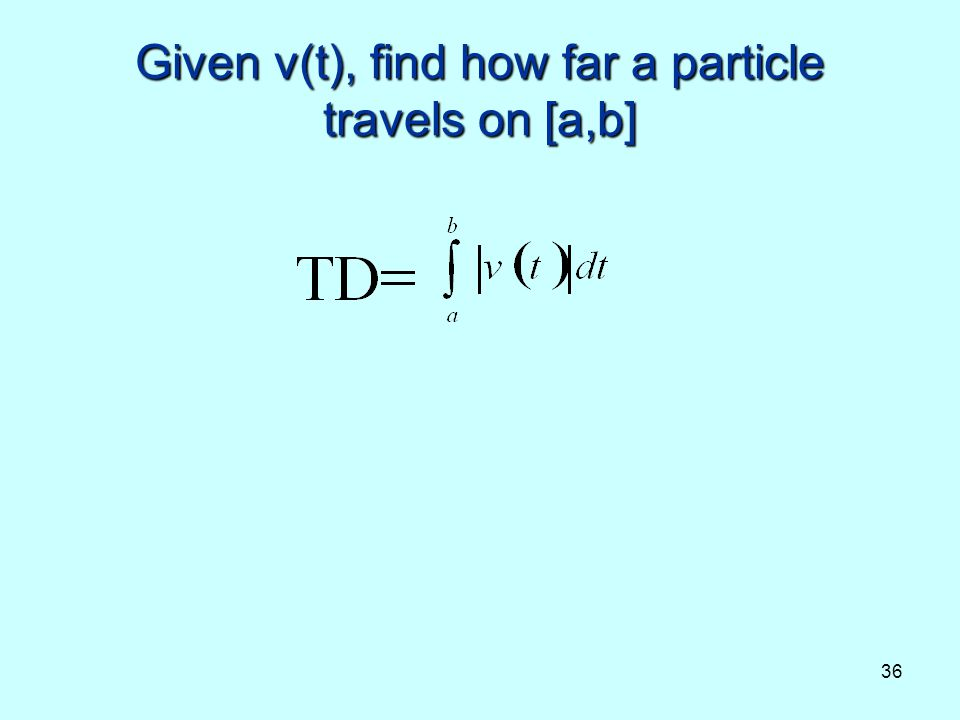 Given v(t), find how far a particle travels on [a,b]